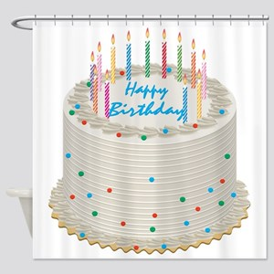 Happy Birthday Cake Shower Curtain