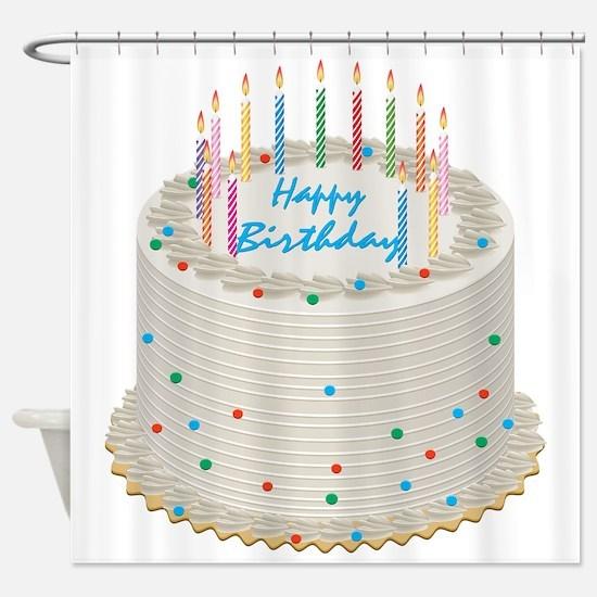 Happy Birthday Cake Shower Curtain