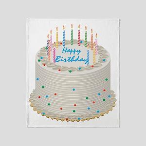 Happy Birthday Cake Throw Blanket