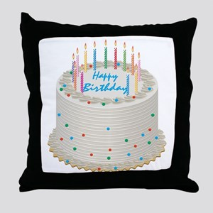 Happy Birthday Cake Throw Pillow