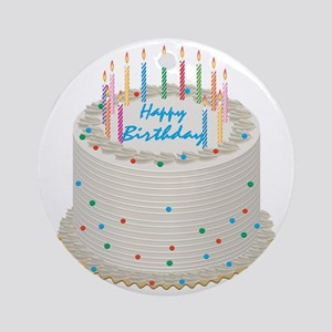Happy Birthday Cake Round Ornament