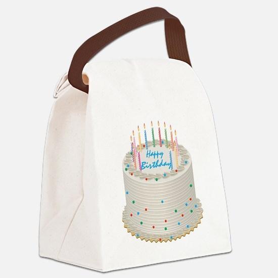 Happy Birthday Cake Canvas Lunch Bag