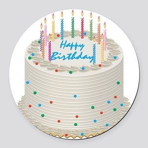 Happy Birthday Cake Round Car Magnet