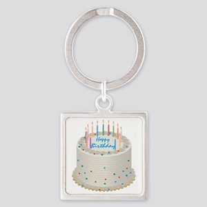Happy Birthday Cake Square Keychain