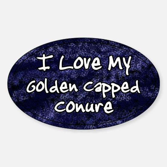 Funky Love Golden Capped Conure Oval Decal
