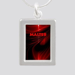 bondage black and red Ma Silver Portrait Necklace