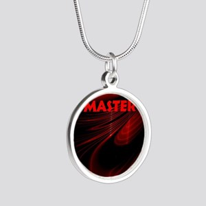 bondage black and red Master Silver Round Necklace