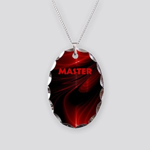 bondage black and red Master Necklace Oval Charm
