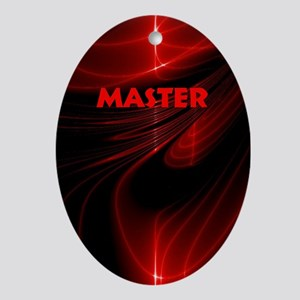 bondage black and red Master Oval Ornament