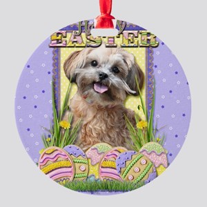 EasterEggCookiesShihPooCP Round Ornament