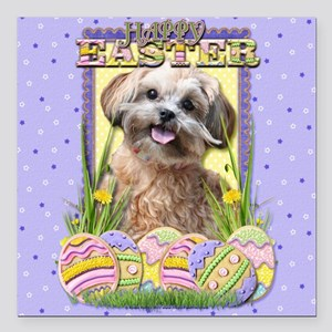 "EasterEggCookiesShihPooC Square Car Magnet 3"" x 3"""