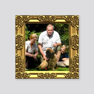 Custom gold baroque framed photo Square Sticker 3""