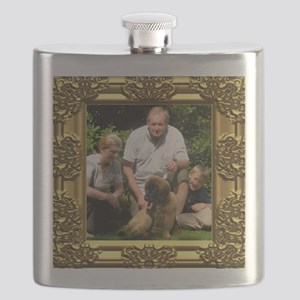 Custom gold baroque framed photo Flask