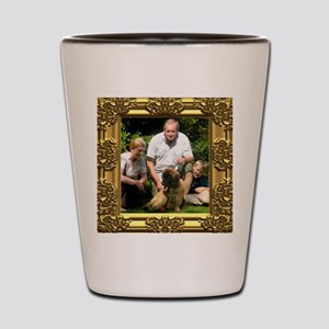 Custom gold baroque framed photo Shot Glass