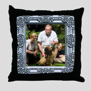 Custom silver baroque framed photo Throw Pillow