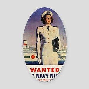Navy Nurse Oval Car Magnet