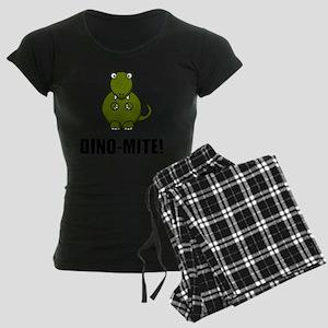 Dino Mite Dinosaur Black Women's Dark Pajamas