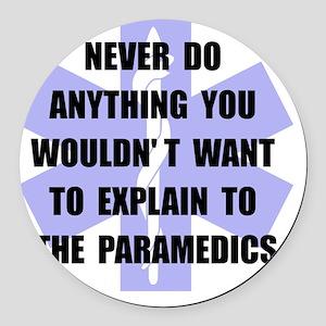 Paramedics Black Round Car Magnet