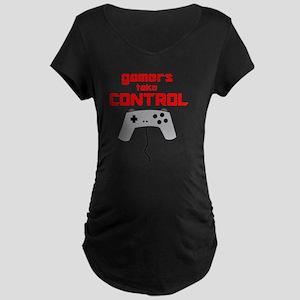 GAMERS TAKE CONTROL red Maternity Dark T-Shirt