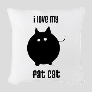 Fat Cat Woven Throw Pillow