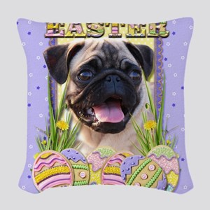 EasterEggCookiesPugCP Woven Throw Pillow