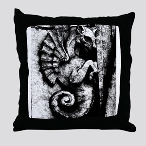 Seahorse Gargoyle Throw Pillow