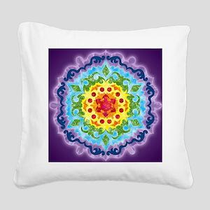 CrownMandalaClock Square Canvas Pillow
