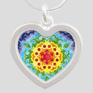 CrownMandalaClock Silver Heart Necklace