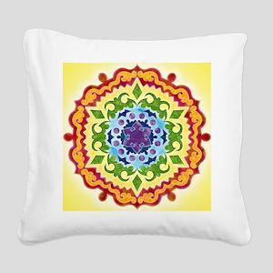 SolarPlexusMandalaClock Square Canvas Pillow