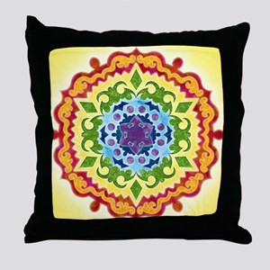 SolarPlexusMandalaClock Throw Pillow