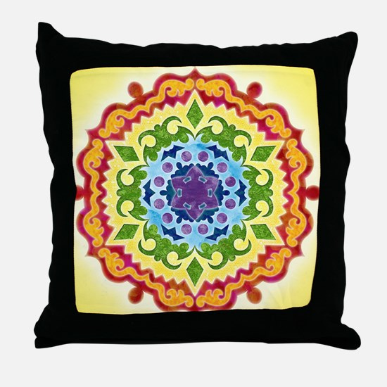 SolarPlexusMandalaClock Throw Pillow