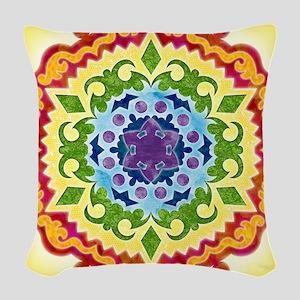 SolarPlexusMandalaClock Woven Throw Pillow