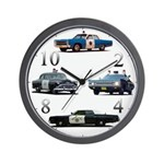 Police Car Montage Wall Clock