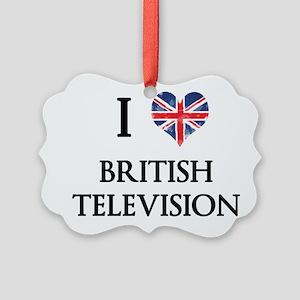 I Love British Television Ornament
