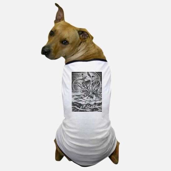 Giant Squid vs. Pirates b/w Dog T-Shirt