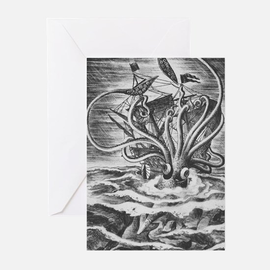 Giant Squid vs. Pirates b/w Greeting Cards (Packag