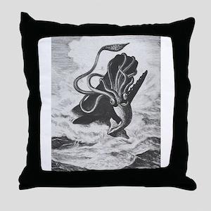 Giant Squid vs. Sperm Whale Throw Pillow
