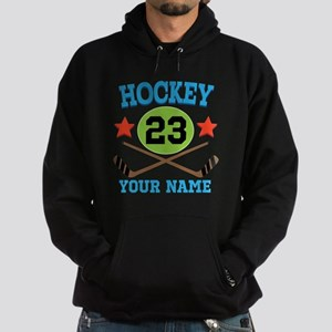 Personalized Hockey Player Number Hoodie (dark)