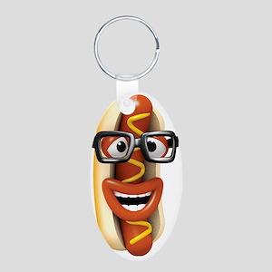 3d-hotdog-glasses Aluminum Oval Keychain