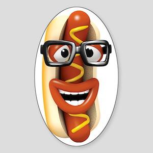 3d-hotdog-glasses Sticker (Oval)