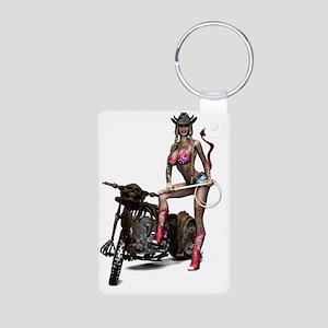 Biker_Girl_Hellbilly_Devil Aluminum Photo Keychain