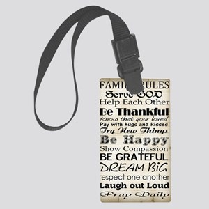 Family Rules God Large Luggage Tag