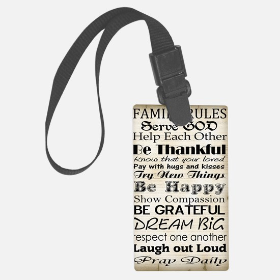 Family Rules God Luggage Tag
