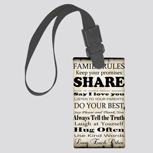 Family Rules Plaque Large Luggage Tag