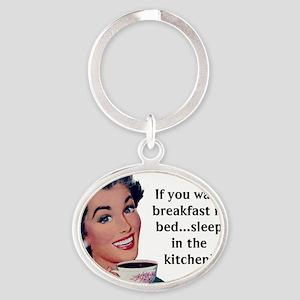 Breakfast In Bed Oval Keychain