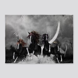 Awesome wild black horses running in the night 5'x