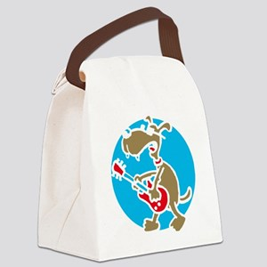 dog n roll E 3c black 2 Canvas Lunch Bag