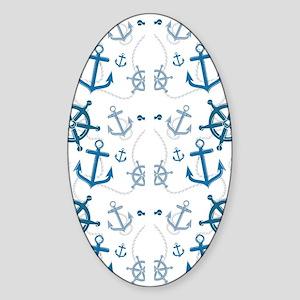 Flip Flops Nautical Sticker (Oval)