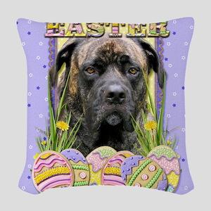 EasterEggCookiesMastiffCyclone Woven Throw Pillow