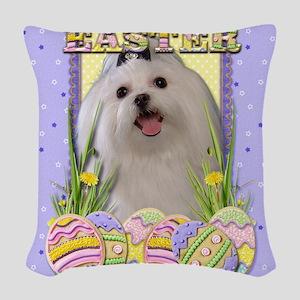EasterEggCookiesMalteseCP Woven Throw Pillow